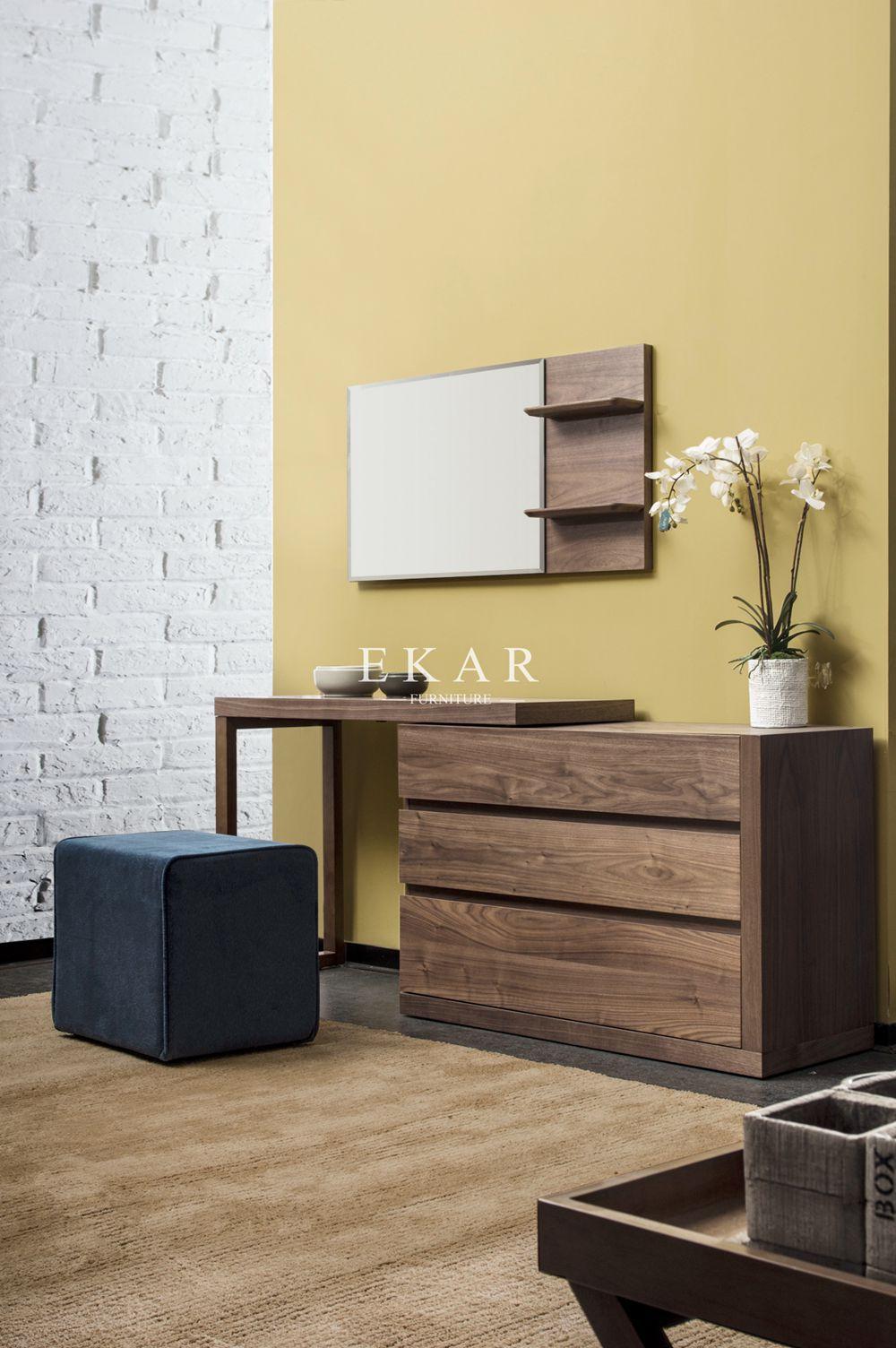 Home Bedroom Furniture Walnut Color Dresser Set Wooden Dressing Table  Designs