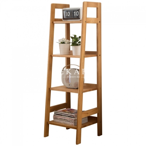 Solid Wood Bookcase Ladder Type Book Shelf European Style