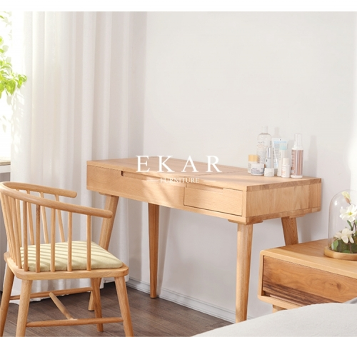 New Design Solid Wood Modern Simple Dressing Table With Mirror