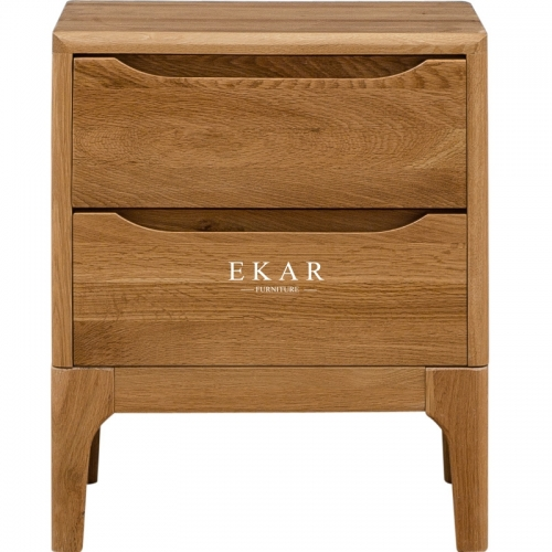 European Style Bedroom Furniture Imported Oak Night Stand Bedside Table Wood