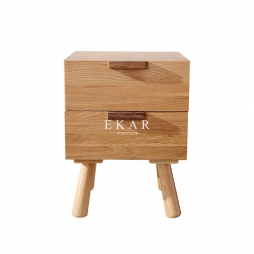 Home Furniture 2 Drawers Oak Night Stand Wooden Bedside Tables