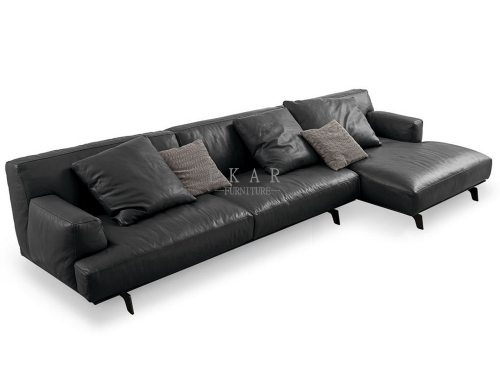 Big Sofa Leather Sectional Black Couch Living Room
