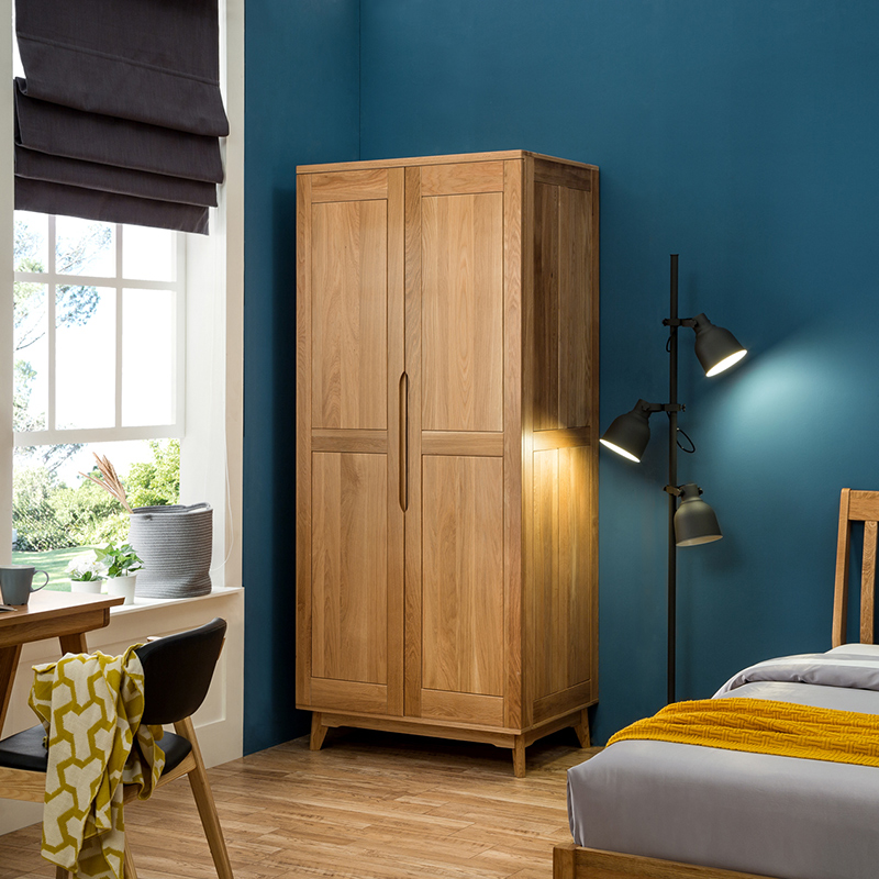 New Modern Simple Wooden Clothes Double Doors Wardrobe