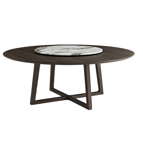 New Design Marble Top Dark Wood Dining Table