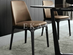 High Back Armchair Leather Solid Wood Dining Chair