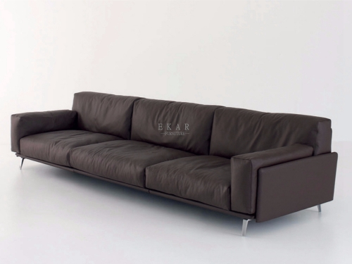 Leather Fabric Black And Grey Sofa Set