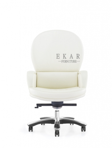 Luxury Office Furniture Executive White Leather Swivel Boss Office Chair