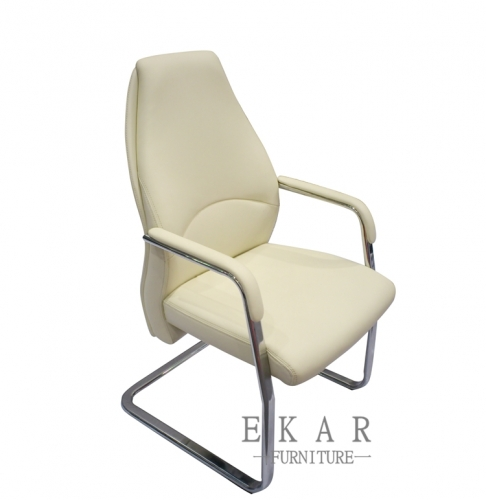 Office Furniture Cream White Leather Conference Chair