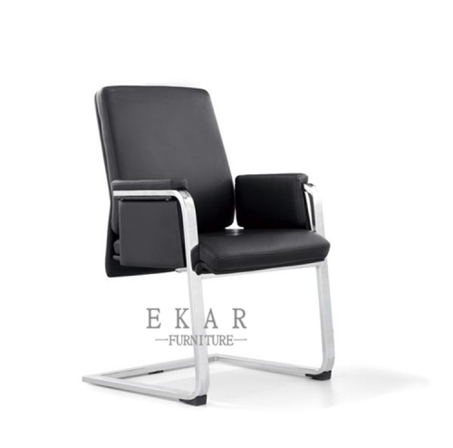 Simple Aluminium Alloy Leg Black Leather Conference Hall Chair