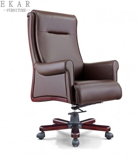 Luxury Leather High Back Office Chair Reddish Brown Executive Chair