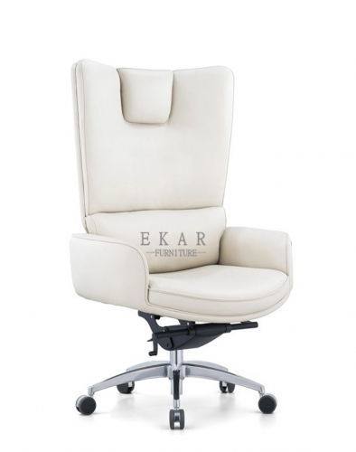 Leader Office Chair Ergonomic White Leather Swivel Lift Chair