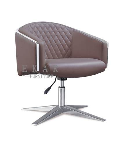 New Designs Staff Reddish Brown/White Leather Conference Chair