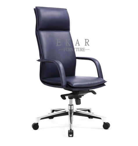 Office Furniture Deep Blue Leather Swivel Chair Price