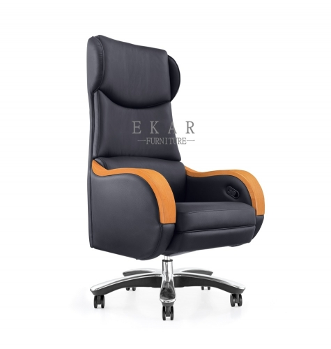 Wooden Armrest Electric Adjustable Luxury Executive Office Chair
