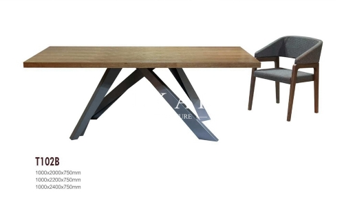 Modern Square Metal Base Wood Dining Table