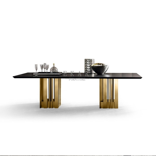 Modern Dining Room Furniture Wood Marble Square Dining Table For 8