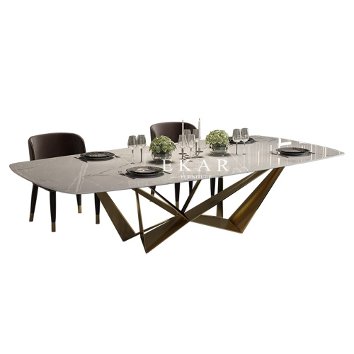Large Rectangle Wood Marble Contemporary Dining Table