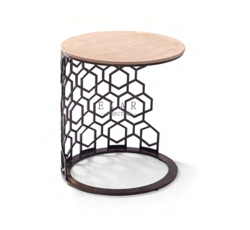Round Living Room Modern Side Metal End Table