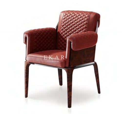 Red Leather Armchair Upholstered Dining Room Chair With Arm