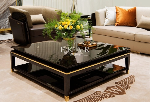 Black Square Wooden Leg Coffee Table