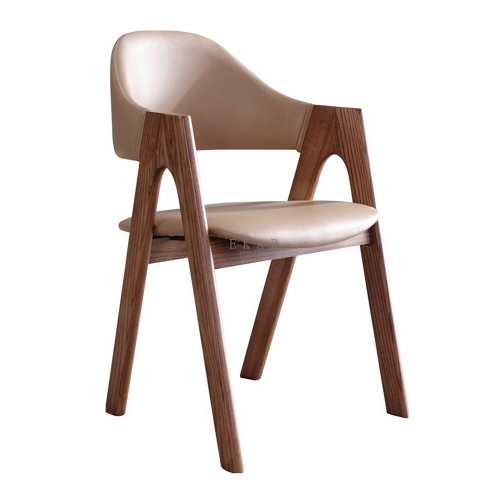 Italian Style Leather Design Wooden Dining Chair