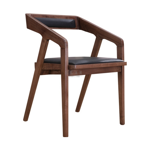 Ash Wood Upholstery Leather Dining Room Arm Chair