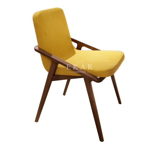 Ash Wood Frame Fabric Upholstered Dining Chair