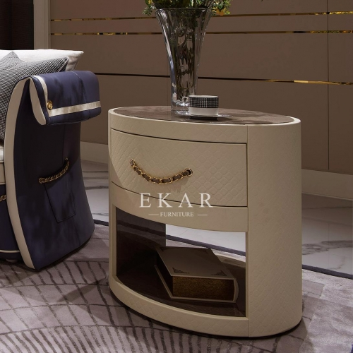 Modern Round High Gloss End Side Table With Drawer