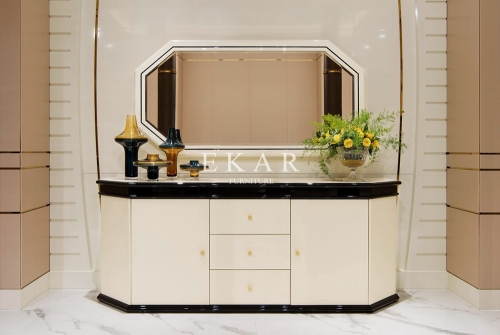 Luxury Modern Marble Top Dining Room Wooden Sideboard