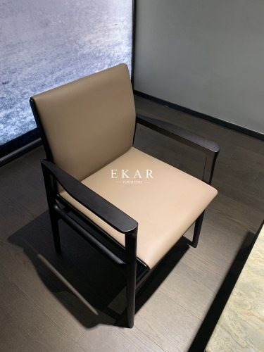Solid Wood Frame Leather Upholstery Dining Chair