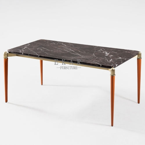 Metal Leather Legs Rectangle Wooden or Marble Dining Table