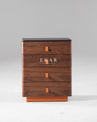 Walnut 4 Drawers Simple Nordic Style Drawer Chest
