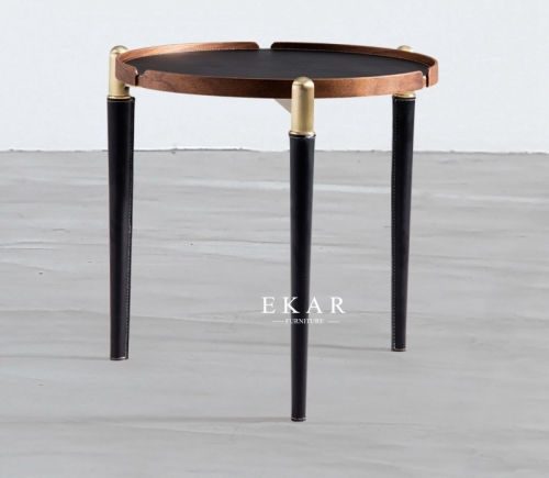 Metal Legs Round Leather Living Room Corner Table