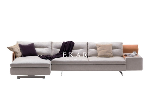 Italian Contemporary Design Leather Metal Base L Shaped Sofa