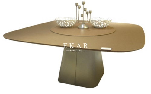 Dining Room Glass Top Modern Dining Table With Rotating Centre