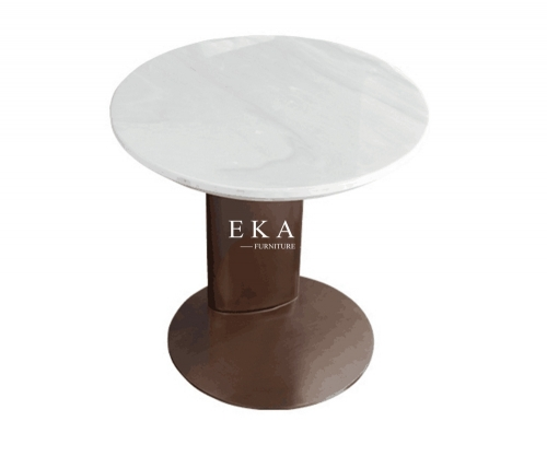 Round Shaped White Marble Top Metal Base Corner Table