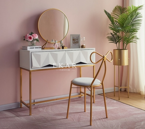 Simple Modern Design Metal Frame Makeup Table