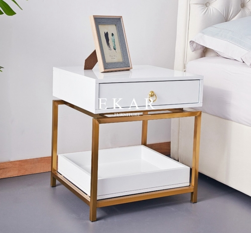 Stainless Steel Frame One Drawer Nightstand