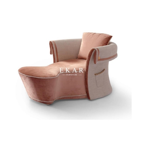 Orange Veneer Elegant Modern Design Chaise Lounge