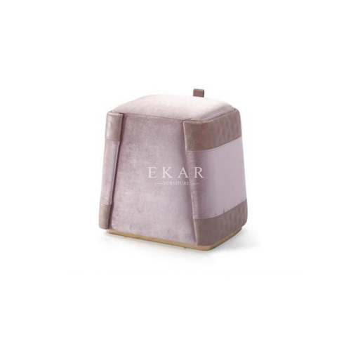 Metal Base Pink Leather Dressing Stool