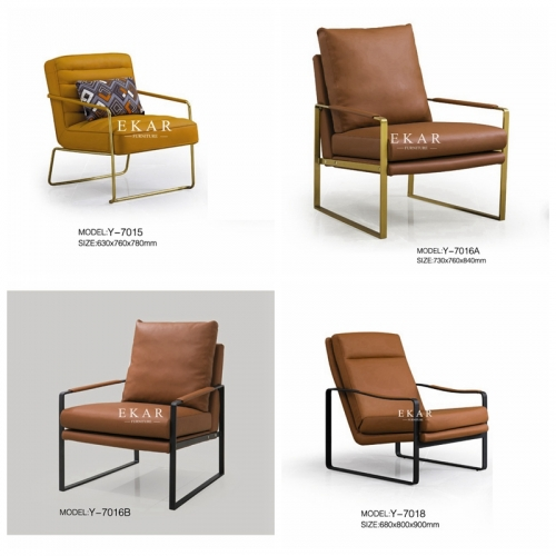 Metallic Base Upholstered Armchair Fabric Leisure Chair